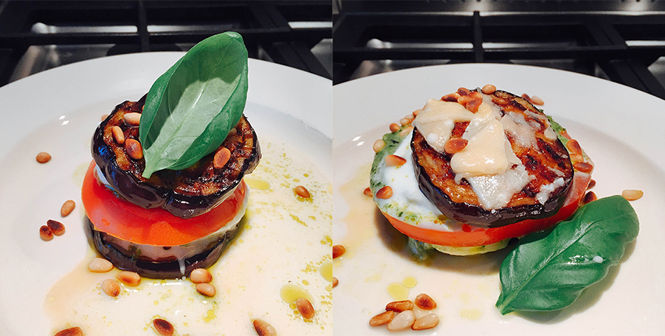 Aubergine-burger met tomaat, mozzarella en basilicum